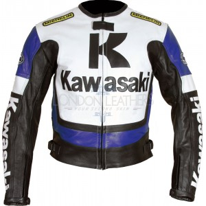 Kawasaki Ninja BLUE Leather Motorcycle Jacket