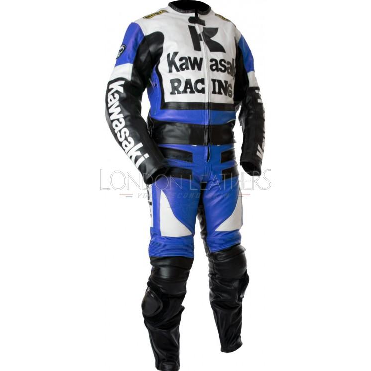 kawasaki racing blue ninja biker leathers