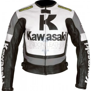 Kawasaki Ninja GREY Leather Motorcycle Jacket