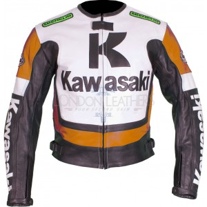 Kawasaki Ninja ORANGE Leather Motorcycle Jacket