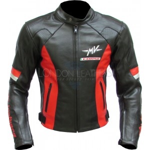 SALE - MV Agusta Corse Red Leather Biker Jacket M