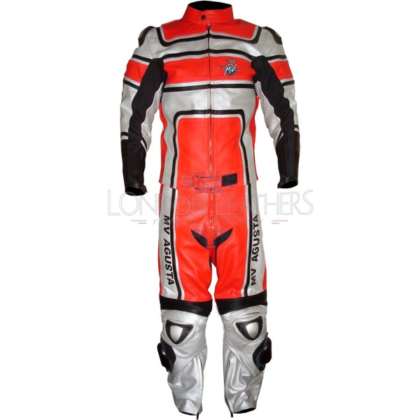 MV Agusta Special Edition Red Silver Biker Leather Suit