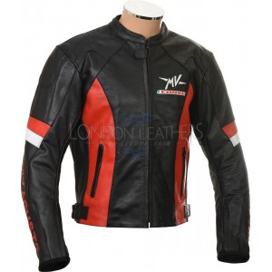 MV Agusta Corse Red & Black leather Biker Jacket