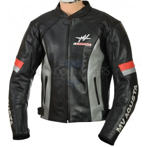 MV Agusta Corse Gunmetal Leather Biker Jacket