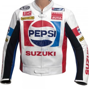Classic Pepsi Sports Racing Replica Leather Motorcycle Jacket