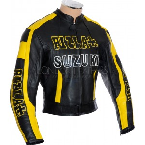 RIZLA Suzuki Black Motorcycle Leather Jacket