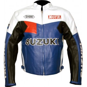 Suzuki Classic Leather Motorcycle Racer Jacket