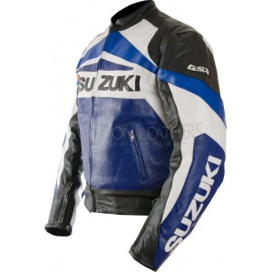 SUZUKI GSX Biker Leather Motorcycle Jacket