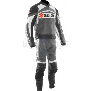 Suzuki GSXR GREY Leather Motorcycle Biker Suit