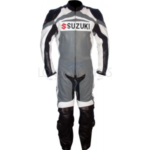 Suzuki GSX-R Super Sports Grey Black Leather Motorcycle One Piece Suit
