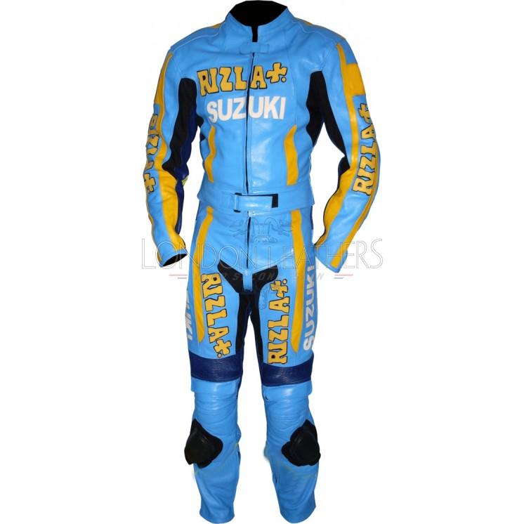 SUZUKI Rizla Blue Replica Motorcycle Leather Suit