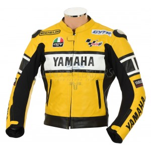 Yamaha Rossi 46 Yellow Leather Biker Jacket