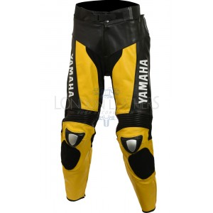 Yamaha Yellow Black Biker Leather Trouser