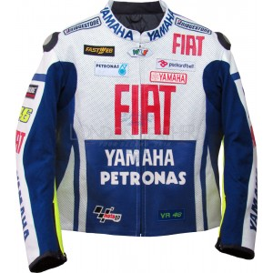 MotoGP Fiat Yamaha Blue Biker Leather Jacket