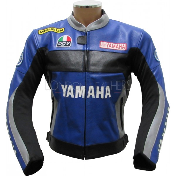 Valentino Rossi 46 Yamaha Blue Leather Biker Jacket