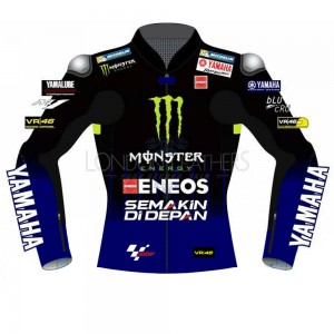 VR46 Yamaha Monster Energy MotoGP Replica Leather Biker Jacket