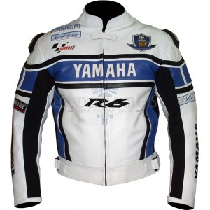 WGP Yamaha R6 50th Blue Leather Biker Jacket