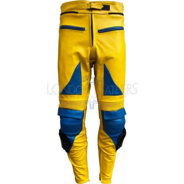 Camel Yellow Leather Motorcycle Trouser Pant
