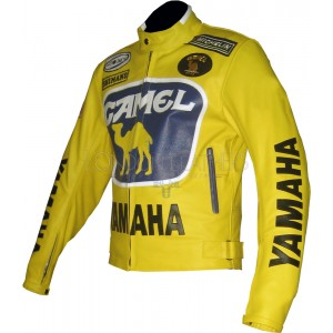 Camel Yellow Yamaha Racing Leather Jacket
