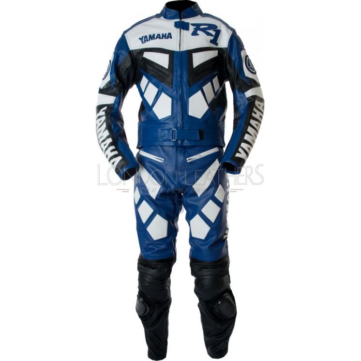 Blue Yamaha Leather Jacket Blue