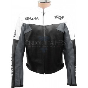 Yamaha R6 Moto Grey Leather Motorcycle Jacket