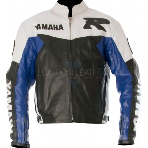 Yamaha R Blue Leather Motorcycle Jacket