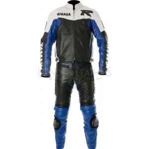 Yamaha BLUE Classic Street Biker Leather Suit