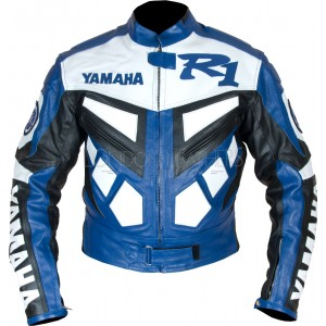 Yamaha YZF R1 Blue Classic Leather Biker Jacket