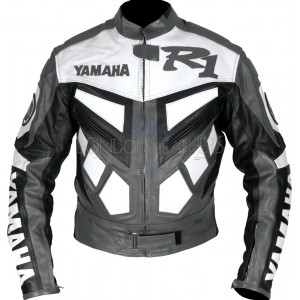 Yamaha R1 Grey Classic Leather Biker Jacket