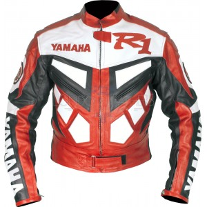 Yamaha R1 Red Classic Leather Biker Jacket