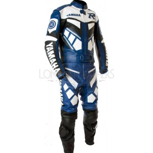Yamaha R1 Classic Blue Biker Leather Motorcycle Suit