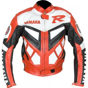 Yamaha Classic Red Leather Motorcycle Jacket