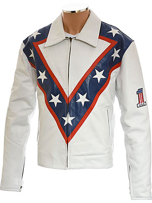 Evel Knievel Classic White Leather Jacket